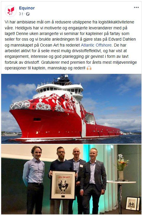 Printscreen from Facebook Equinor Atlantic Offshore Ocean Art