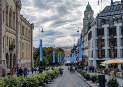 Oslo's main street Karl Johans Gate with the Royal Palace in bac