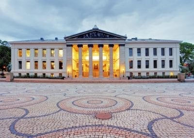 University of Oslo, Norway at night
