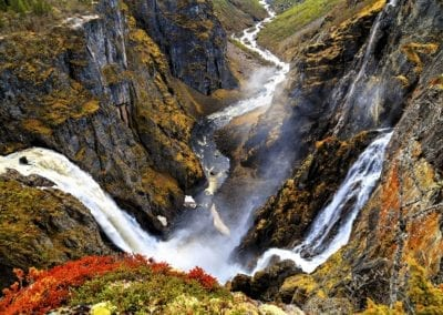 View on Voringfossen waterfall and cliffs from the top